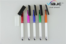 3 in 1 Multi function twist touch stylus plastic pen/screen cleaner rotating degree in factory price made in china