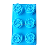 Rose shape 6pcs Choclate silicone mould Cake Decorating Mould Candy Cookies Chocolate Soap Baking Mold