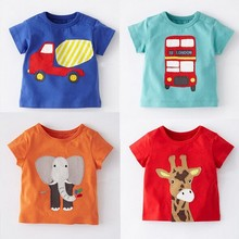 Wholesale short sleeves 100% cotton baby clothes top baby t-shirt for summer