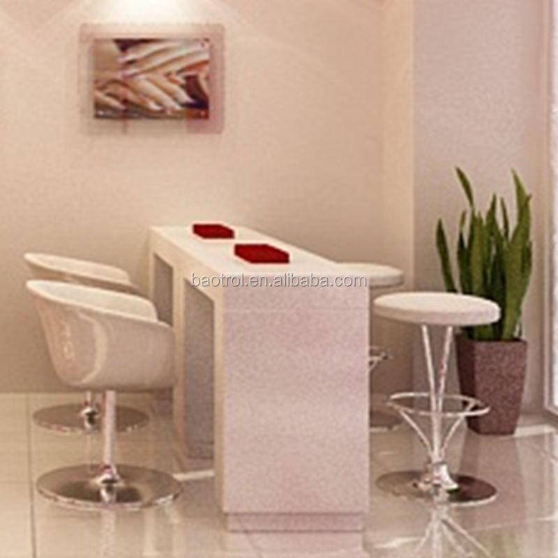 Nail salon artifical marble series furniture pure white solid surface nail table