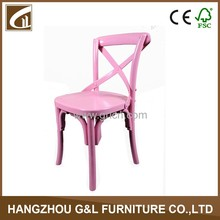 Hot sell hand crafted home solid wood x back kids chair