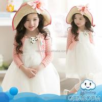 2015 fashion style cute one-piece long harness fairy princess white skirt pink jacket girl dress