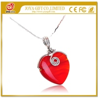 Natural Red Carnelian Pendant Necklace 20MM Crystal Agate Heart with Silver Color Chain
