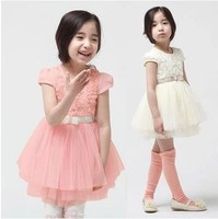 Free shipping girls dresses princess solid with rose pink/white 5pcs/lot