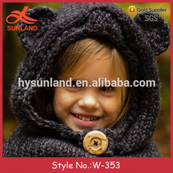 W-353 cute chunky knitted hooded bear cowl hat for toddler child teen adult