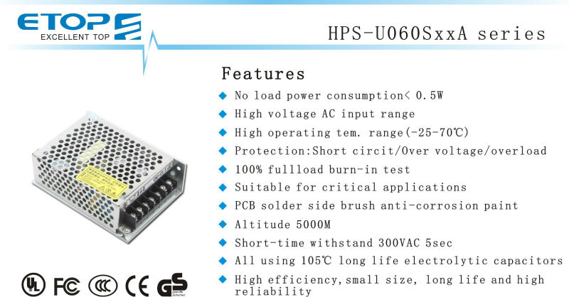 ETOP 60W high voltage switching power supply with CE for stage light & LCD screem
