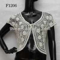2015 newest cotton crochet lace women short sleeve front open blouses design