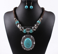 2015 fashion wood carved choker statement jewelry necklace and earring set