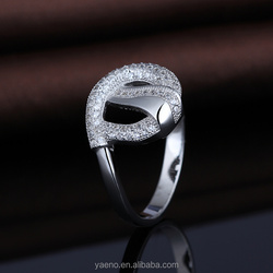 Factory Wholesale Jewelry 925 Sterling Silver White Gold Plated CZ Stone Ring