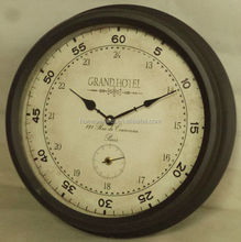 Round antique black iron framed wall clock for promotion