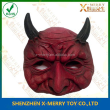 X-MERRY RED DEVIL WITH HORNS DEMON GOTHIC EVIL HALF LATEX MASK COSTUME XHM064