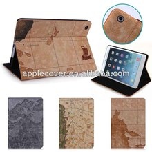 Hot Sale Map Design Leather Tablet Case for iPad Mini 1/2/3 with Stand Function