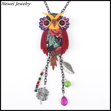 Newei 2015 Latest Design Fashion Handmade Jewelry Long Chain Fabric Owl Pendant Necklace For Girl Women