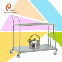Two ties 80x40x70cm free standing separated assembled kitchen dinner serving trolley cart with wheels