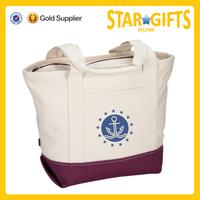 Custom large capacity cotton zippered tote bag