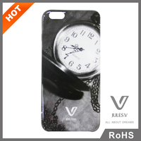 newest popular classical pocket watch pattern 3d liquid silicon mobile phone case for IPhone 6 Plus