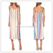 The new variety of women's dress color vertical stripes in the long thin strap dress(PY0243)