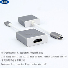 Zinc alloy IPHONE Macbook Air USB 3.1 to HDMI video cable, PACKING: OEM