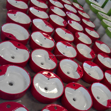Red & white Sanitary Basin, Bathroom ceramic art red basin ,Bathroom Specialist Counter Top Basins.