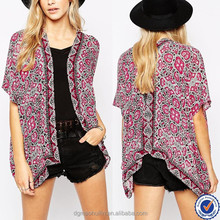 printed fabric border kimono with angular hem front open