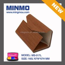 Wood grain high quality brown PU leather comfortable lining handmade glasses case ,folding eyeglasses case