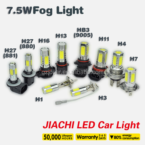 car led tuning light h4 led car fog lights w5w 5050 17chips h1 2.7w