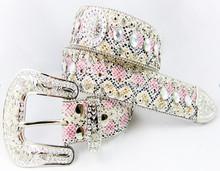 2015 fashion top design genuine leather belt, ladies rhinestone beaded belt