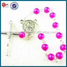 6mm rojo de la rosa pulseras de moda,/de acrílico del grano de plástico cadena de rosario pulsera, pulsera baratos