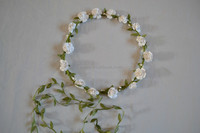 White Color Lovely Girls Handband Wholesale Beauty Flower Crown Headband Girls Hairbands Headband With Fabric Flower H7295