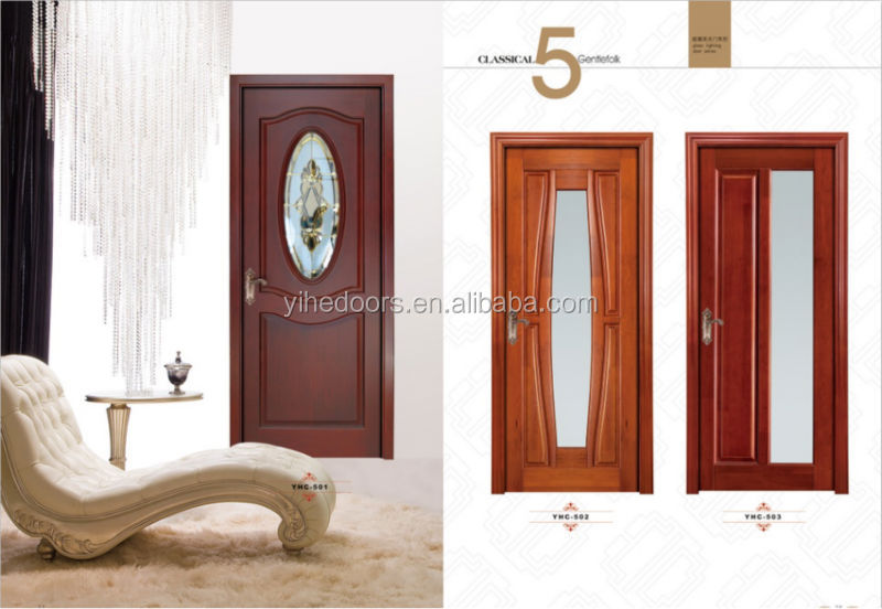 Other wood entry door with tempered glass for bathroom toilet hotel
