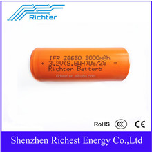 Lifepo4 IFR26650 3.2V 3000mAh lithium rechargeable battery for electric bike flashlight toys