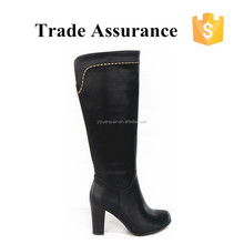 Western Style PU Leather Famous Designer Women Long Boots Thick Heel Round Toe Boots New Coming