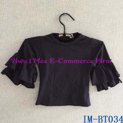 Children Age Group and T-Shirts Product Type Wholesale Girls Cotton 3/4 Sleeves Blouse with Double Ruffles IM-BT034
