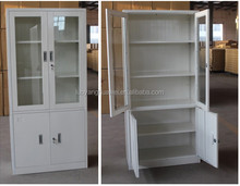 Modern KD cold rolling steel plate ikea glass door cabinet design