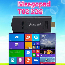 2015 hot MeeGoPad T02 Mini PC Stick - Intel Atom Quad Core CPU, 2GB RAM, 32GB Memory, 2xUSB, Bluetooth 4.0