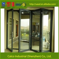 70 series powder coated aluminium folding door frame with Hongkong Kinlong hardware fittings