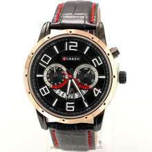 Business brand CURREN black leather band big number two imitate dial watches