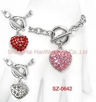 SZ-0642 3D Heart Charms Bracelet