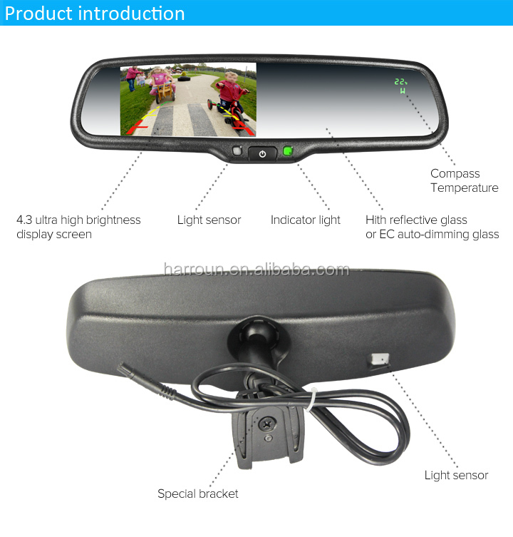 4 3 inch auto dimming compass rearview mirror with radar detector for e60 interface for bmw. Black Bedroom Furniture Sets. Home Design Ideas