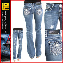 Floral bootcut wholesale la idol jeans bulk wholesale jeans womens wholesale jeans(GYQ0057)