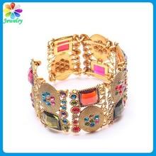 Fashion folk style gold plated wide teen fashion bangle