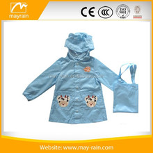 Durable lucky blue polyester kids raincoat with funny pattern