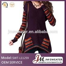invierno de punto de largo vestido de suéter arbolado para mujeres