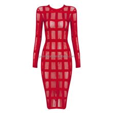 Red and black Transparent bodycon long Sleeve Bandage Dress Wholesale Fancy Dress China TR127