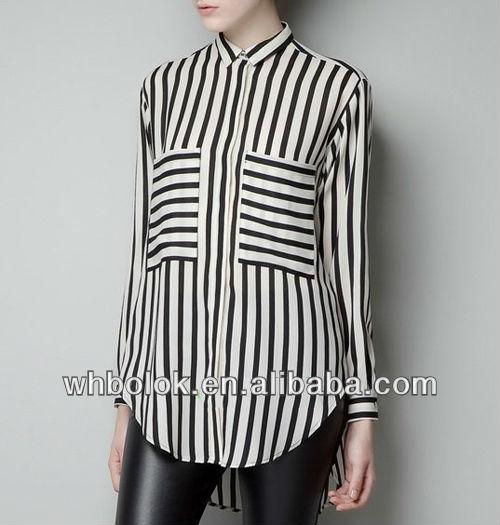 Elegante para mujer blusa de la gasa de la raya diseño grande bolsillos para la señora