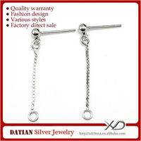 XD P136 Anallergic 925 Sterling Silver DIY Changeable Stud Chain Earrings