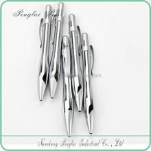 click metal material silver barrel shine chrome pen silver ballpoint refill pen