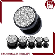 HT Hot Sale Paved Clear CZ Gem Thread Screw Fit Plugs UV Acrylic Ear Gauge Expander Stretcher Kits Plugs Body Piercing Jewelry