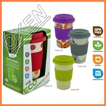 Various color fancy bamboo fiber cup