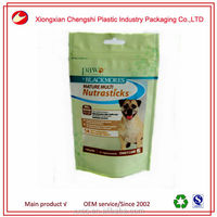 Stand up plastic pet food bag with clear window, stand up ziplock plastic dog food package bag, kong snack dog food bag